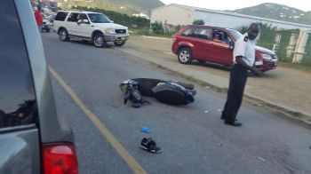 According to reports reaching Virgin Islands News Online, a rental with number plate RT 2438 driven by a caucasian woman collided with the motor scooter. Photo: Team of Reporters