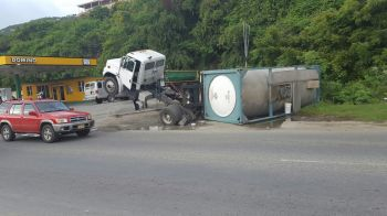 The overturned fuel tank on May 11, 2016. Photo: Team of Reporters