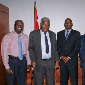 From Left: Former Permanent Secretary in the Ministry of Communications and Works, Julian Willock, Former Premier of the Virgin Islands Hon Ralph T. O'Neal OBE and son of late Prime Minister Patrick A.M. Manning, Brian H. Manning, who came to the VI in 2010 on an official visit. Photo: VINO/File