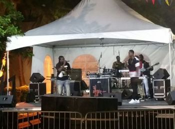 One of the bands in action at the Block Party on DeCastro Street in Road Town last night, July 2, 2016. Photo: VINO