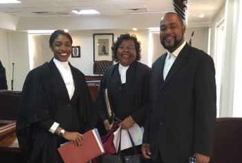 Brittney Symone Smith (left) with Mrs R. Dancia Penn-Sallah QC, OBE (centre) and her father, Neville A. Smith on July 14, 2016. Photo: Provided