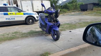 The motor scooter involved in the accident at Wickham's Cay II today, July 20, 2016. Photo: Team of Reporters