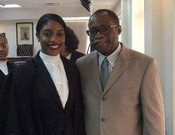 Opposition Leader and Representative for the Third District, Hon Julian Fraser RA (right) attended the ceremony for the admission to the Bar of Brittney S. Smith (left). Photo: Facebook