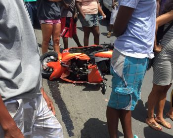 The motors scooter involved in the accident at Kingston today, August 2, 2016. Photo: Team of Reporters