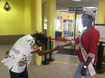 Allington O. Creque sought the blessing and advice of Miss BVI 2016 -2017 Ms Erika R. Creque prior to leaving the territory to speak at the conference. Photo: Provided