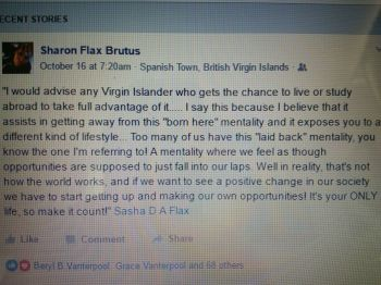 The Facebook post by Sharon Flax-Brutus. Photo: Facebook