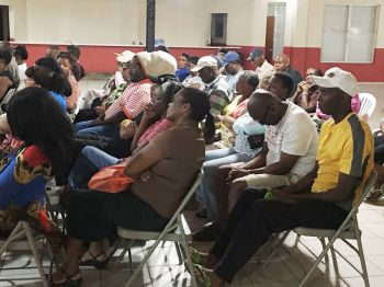 Some of the persons at the Catholic Community Centre in the Valley, Virgin Gorda at the public meeting called by Opposition Leader Hon Julian Fraser RA (R3) on November 2, 2016. Photo: Provided