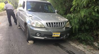 The other vehicle involved in the accident on Elevator Hill today, November 15, 2016. Photo: Team of Reporters