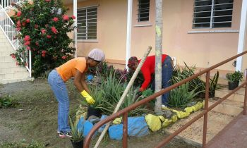 Sprucing up the surroundings of the Rainbow Children's Home in Lower Estate. Photo: Provided