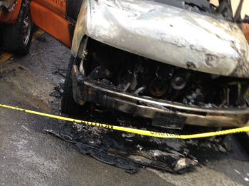 The vehicle fire was noticed sometime around 4:00 A.M by a security guard. Photo: VINO