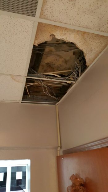 Another bad area of the ceiling in the Old Administration Building on Main Street. Photo: Team of Reporters