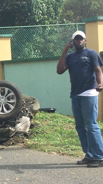 The driver of the vehicle that miraculously escaped without a scratch in an accident at West End, Tortola today, January 16, 2017. Photo: Team of Reporters
