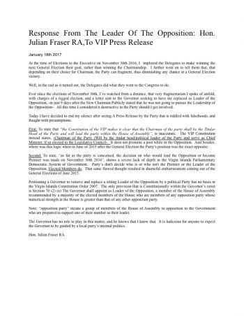The press release by Opposition Leader Hon Julian Fraser RA (R3) in response to the statement by the Virgin Islands Party today, January 18, 2017. Photo: VINO