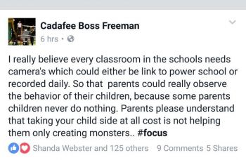 The Facebook post by Eustace 'Boss' Freeman on January 31, 2017 criticising some parents for their children's negative behaviour in school. Photo: Facebook