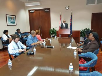 Premier Dr The Honourable D. Orlando Smith (AL),centre, briefed the local press on his recent trip to the United Kingdom among other matters yesterday, February 16, 2017 in the Conference Room, Office of the Premier. Photo: VINO