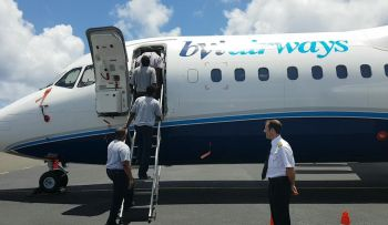 Persons are given tour of one of the BVI Airways aircrafts at Beef Island on April 12, 2017. Photo: Team of Reporters