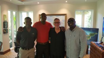 From left: Senior Executive at Oil Nut Bay, Clyde Lettsome; Head Coach of Bayside Blazers, Rhennie O. Phipps; Owner of Oil Nut Bay, David V. Johnson; and Manager of Bayside Blazers Julian Willock. Photo: Team of Reporters