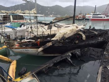 It is not clear to this news site at this time what caused the blaze that destroyed at least two boats at Baughers Bay today, April 18, 2017. Photo: VINO