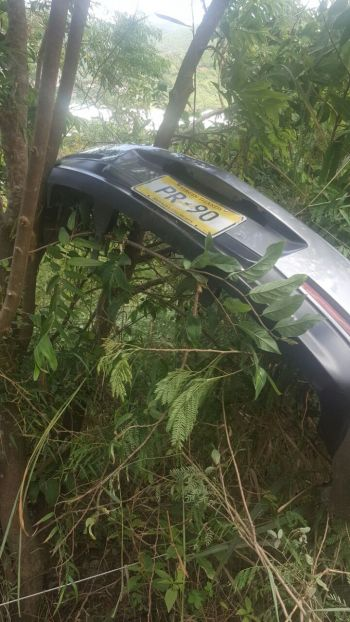 This is where the front bumper of the vehicle that ran off the road and down a hill at Free Bottom, Tortola ended up. Photo: Team of Reporters