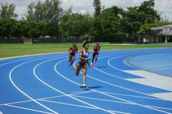 Ashley N. Kelly blazed to an IAAF World Championships qualifier and a new National Record in the 400m at the Tru Fit Miami Invitational on July 8, 2017. Photo: Provided