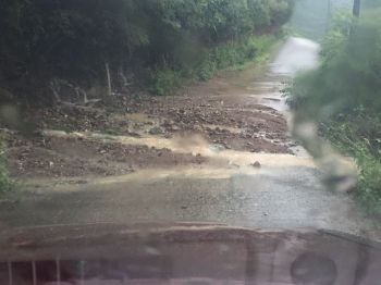 The state of a road on Tortola today, July 13, 2017 following heavy rainfall. Photo: Team of Reporters