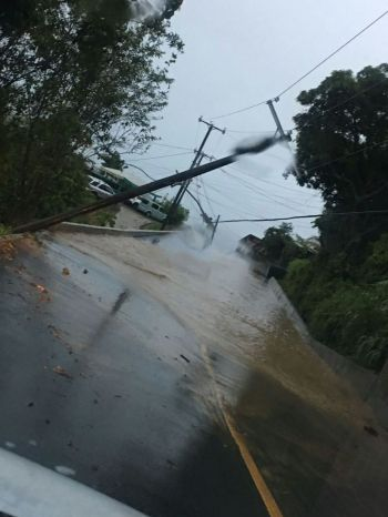 A fallen utility pole in the Belle Vue area of Tortola today, July 13, 2017. Photo: Team of Reporters
