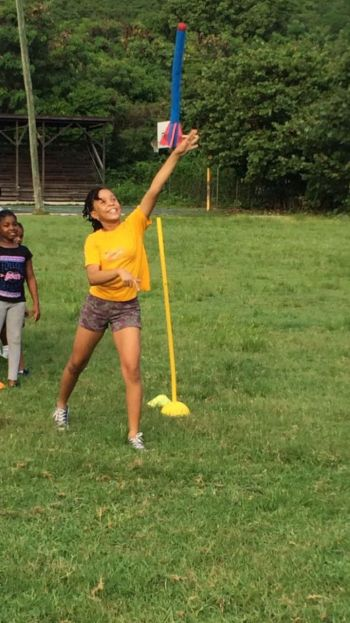 Mimicking the Javelin throw. Photo: Provided