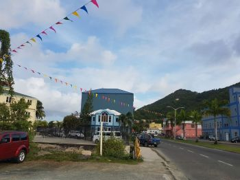 Flags have gone up in the area of the Road Town Festival Ground. Photo: VINO