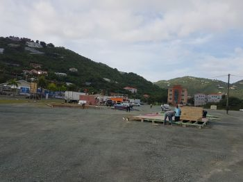 The construction of booths in the Road Town Festival Ground on July 20, 2017. Photo: VINO