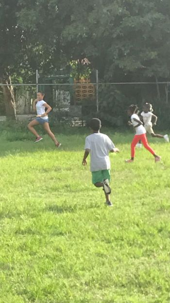 Relay action at the Kids Athletics Camp. Photo: Provided