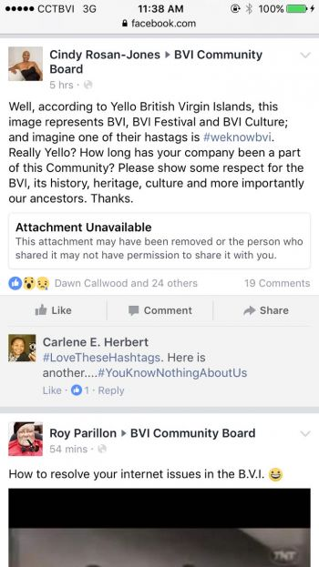 One of the posts by Facebook user Cindy Rosan-Jones slamming Yello BVI's Virgin Islands Emancipation photo. Photo: Facebook