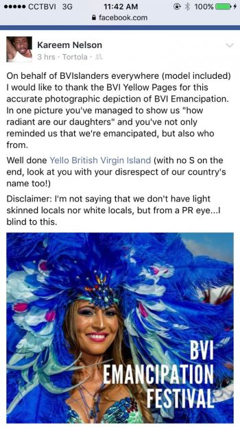 The post by Kareem-Nelson Hull that raised the issue of the photograph used by Yello BVI to promote the Virgin Islands Emancipation Festival on Facebook. Photo: Facebook