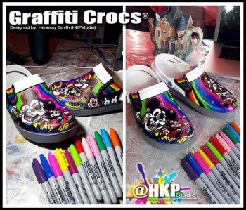 Crocs design was created with only sharpies. Photo: Provided