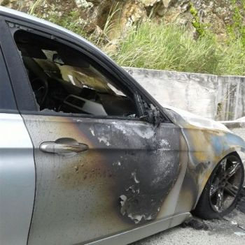 The car was badly burnt. Photo: VINO Team of Reporters