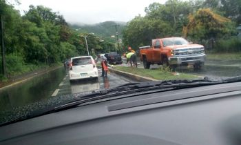 BVI Electricity Corporation was on scene following the accident. Photo: Team of Reportes