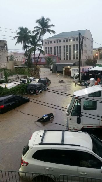 Scenes of flooding in Road Town close to Flow building. Photo: Team of Reporters