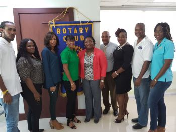 Some members of the Rotary clubs of the Virgin Islands pose for a photograph following a press conference today, August 11, 2017. Third from right is President of the Rotary Club of Tortola, Karia J. Christopher. Third from left is First Lady and Rotary member Mrs Lorna G. Smith OBE. Photo: VINO