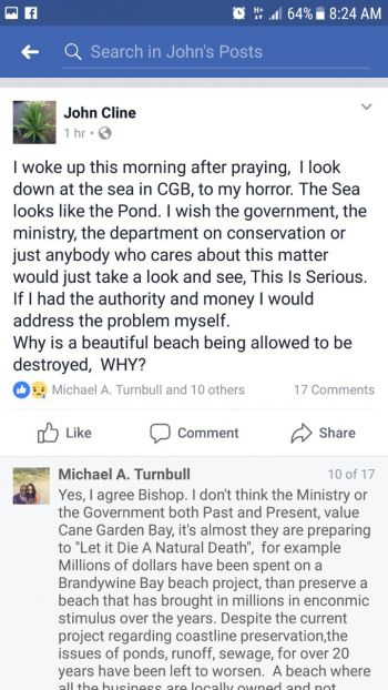 A Facebook post by Bishop John I. Cline and response by Mr Michael A. Turnbull on the state of the Cane Garden Bay beach. Photo: Facebook