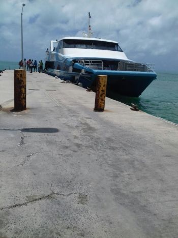 Close to 100 persons from Anegada have boarded a Speedy's ferry to seek shelter off that island today, September 5, 2017. Photo: Team of Reporters