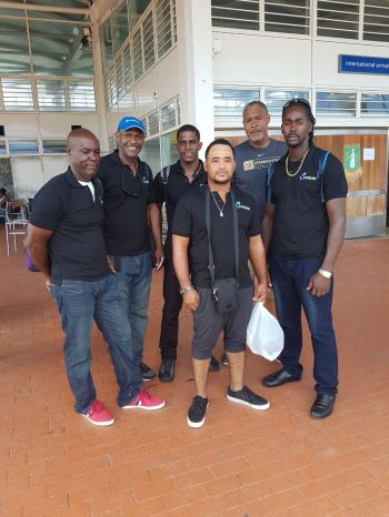 Team of electrical workers and engineers from St. Lucia Electric Utility (LUCELEC) to assist the Territory with electricity restoration. Photo: Team of Reporters