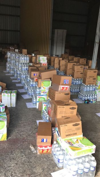 Relief items that were donated to Rotary Club of Tortola and Digicel staff, courtesy of Digicel VI, Facey Commodity and Wisynco Distributors. Photo: Provided