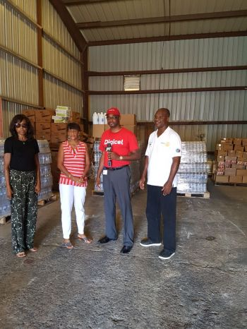Kevin R. Gordon, CEO of Digicel VI (third from left) donating relief items to Rotary Club of Tortola yesterday, Friday October 6, 2017 in Fish Bay. Photo: Provided
