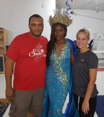 Miss BVI 2017/2018 Khephra D. Sylvester is flanked by two members of her support team. Photo: Provided