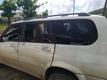 The SUV that three persons were in when they came under heavy gunfire in West End, Tortola on November 22, 2017. Two of the occupants died, which took the homicide count in the Virgin Islands to an unprecedented 10 for the year 2017. Photo: Team of Reporters