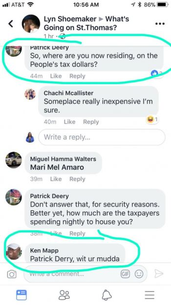 The controversial Facebook response by US Virgin Islands Governor Kenneth E. Mapp. Photo: Facebook