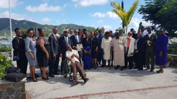 A group photo to remember the day Captain Wendel W. Parsons and Pastor Cromwell O. Hodge were pinned with the 2017 BVI Badge of Honour. Photo: VINO