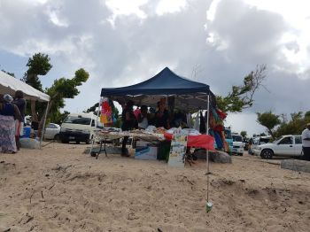 Vendors on Long Bay Beach, Beef Island on December 26, 2017. Photo: VINO