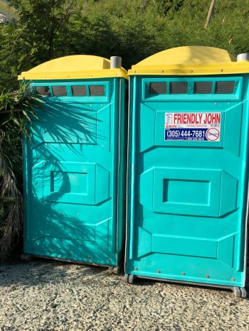 The temporary toilet facility at West End port of entry. Photo: VINO