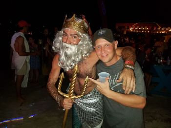 Even King Neptune, left, showed up for the Old Year's/New Year's party at Foxy's on Jost van Dyke. Photo: VINO