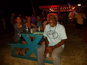 Still smiling! The legendary Jost Van Dyke resident and owner of Foxy's, Philicianno 'Foxy' Callwood, OBE, right. Photo: VINO